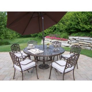 Oakland Living Mississippi Cast Aluminum 60 in. Patio Dining Set with Tilt Umbrella and Stand   Seats 6   Patio Dining Sets