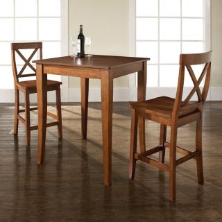 Crosley 3 Piece Pub Dining Set with Cabriole Leg and X Back Stools   Indoor Bistro Sets
