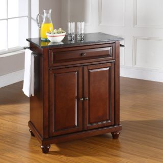 Crosley Cambridge Solid Black Granite Top Portable Kitchen Island   Kitchen Islands and Carts