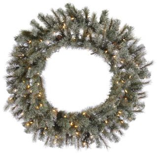 Frosted Sartell Pre Lit Wreath   Christmas Wreaths