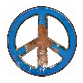 Groovy Metal Peace Sign Wall Art   Wall Sculptures and Panels