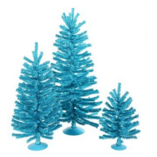 Vickerman Sky Blue Unlit Mini Tree Set   Christmas Trees