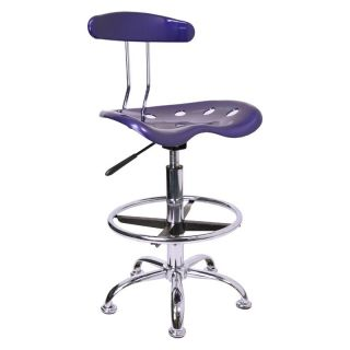 Vibrant Drafting Stool with Tractor Seat   Deep Blue and Chrome   Drafting Chairs & Stools