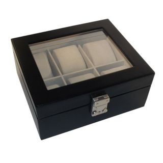 Royce Leather Aristo 6 Slot Watch Box   8.37W x 3.6H in.   Watch Winders & Watch Boxes