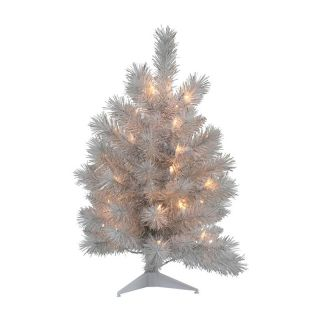 Silver White Pine Dura Lit Table Top Christmas Tree   Christmas Trees