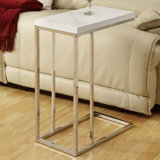 Monarch Rectangular Chrome Metal Accent Table   Glossy White   End Tables