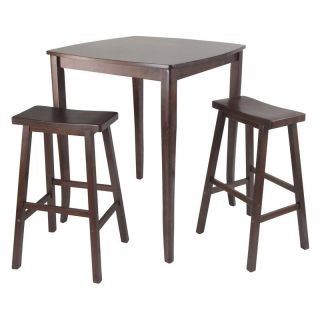 Winsome Inglewood 3 Piece Pub Table Set with Saddle Stools   Pub Tables