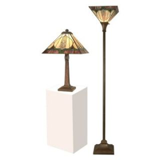 Dale Tiffany Stanton Mission Table and Torchiere Set   Tiffany Table Lamps