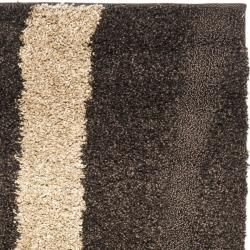 Ultimate Cream/ Dark Brown Shag Rug (2'3 x 7') Safavieh Runner Rugs