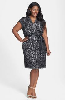 Alex Evenings Belted Metallic Lace Dress (Plus Size)