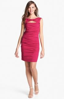 Betsey Johnson Bow Detail Ruched Sheath Dress
