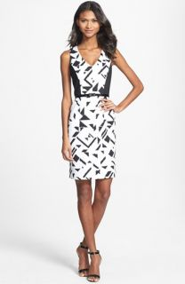 Vince Camuto Belted Print Ponte Knit Sheath Dress