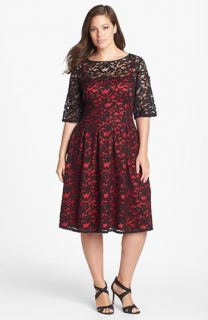 Adrianna Papell Lace Fit & Flare Dress (Plus Size)