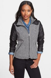 T Tahari Alba Tweed & Faux Leather Coat (Online Only)