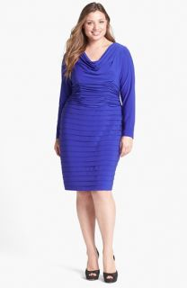 Adrianna Papell Shutter Pleat Jersey Dress (Plus Size)