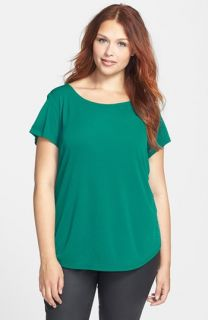 Eileen Fisher Bateau Neck Cap Sleeve Silk Top (Plus Size)