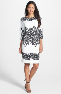 Adrianna Papell Placed Print Sheath Dress (Regular & Petite)