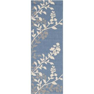 Easy to maintain Safavieh Indoor/ Outdoor Courtyard Blue/ Beige Rug (2'3 x 6'7) Safavieh Runner Rugs