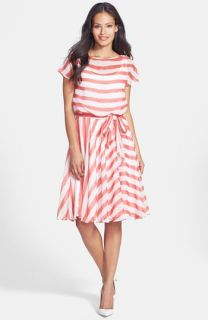 Isaac Mizrahi New York Belted Stripe Chiffon Dress