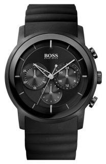 BOSS HUGO BOSS Round Chronograph Rubber Strap Watch, 42mm