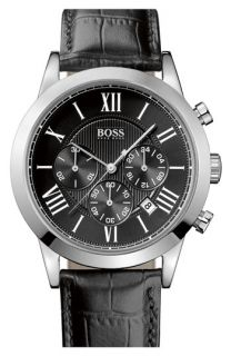 BOSS HUGO BOSS Leather Strap Round Chronograph Watch, 43mm