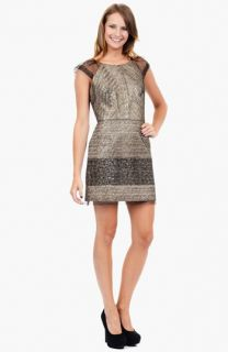 Phoebe by Kay Unger Metallic Mesh Sheath Dress