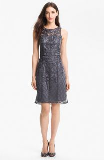 Sue Wong Sleeveless Embroidered Tulle Dress
