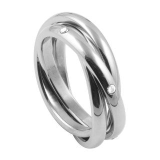 316L Stainless Steel Triple Rolling Band Ring with CZ Jewelry
