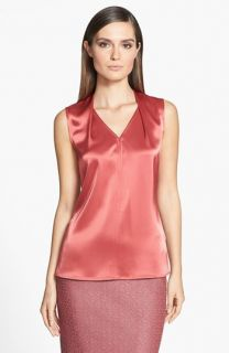 St. John Collection Shoulder Pleat Liquid Satin V Neck Shell