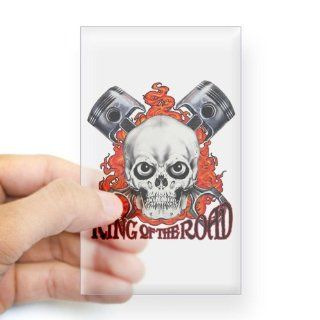 Sticker Clear (Rectangle) King of the Road Skull Flames and Pistons