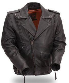 First MFG Men's Motorcycle Leather Jacket. Updated. Gun Metal Hardware. Removable Neck Warmer. FIM242NTCZ Automotive
