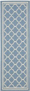 Safavieh Courtyard Collection CY6918 243 Blue and Beige Indoor/Outdoor Area Runner, 2 Feet 4 Inch by 6 Feet 7 Inch   Area Rugs