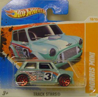 2011 Hot Wheels MORRIS MINI (light blue with racing deco) #75/244, Track Stars #10/15 [SHORT CARD] Toys & Games