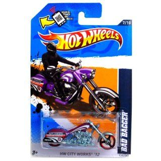 2012 Hot Wheels HW City Works Bad Bagger MOTORCYCLE CHOPPER purple 7/10 #137/247 Toys & Games