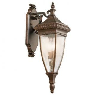 Kichler Lighting Kichler 49131BRZ Venetian Rain 2 Light Outdoor Wall Lantern, Burnished Bronze with Vertical Rain Glass