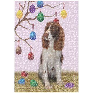 English Springer Spaniel Easter 252 Pc. Puzzle with Photo Tin   Plaques