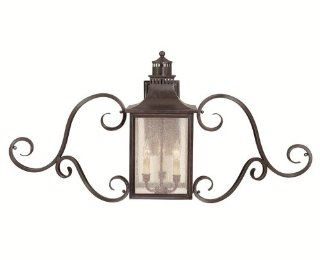 Savoy House Lighting 5 253 13 Monte Grande Collection 3 Light Outdoor Wall Mount Scroll Lantern, English Bronze Finish with Pale Cream Seeded Glass