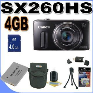 Canon PowerShot SX260HS SX260 HS 12.1 MP CMOS Digital Camera with 20x Image Stabilized Zoom 25mm Wide Angle Optical Lens and 1080p HD Video (Black) Starter Bundle 4GB Memory Card, NB6L Battery, Card Reader, Carrying Case, Mini Tripod And More  Point A