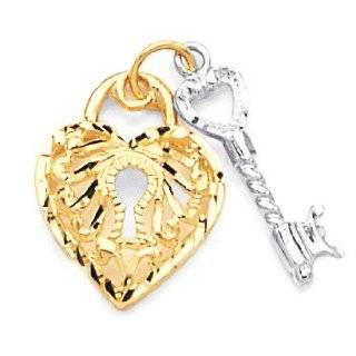 2 Tone White & Yellow 14K Gold Heart Lock With Key Pendant Jewelry