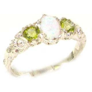 Ladies Solid 14K White Gold Natural Opal & Peridot English Victorian Trilogy Ring   Finger Sizes 5 to 12 Available   Perfect Gift for Birthday, Christmas, Valentines Day, Mothers Day, Mom, Grandmother, Daughter, Graduation, Bridesmaid. Jewelry
