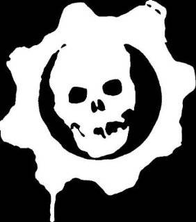 "SKULL GEARS STAMP 5"" (color PURE WHITE) Vinyl Decal Window Sticker for Cars, Trucks, Windows, Walls, Laptops, and other stuff."
