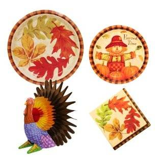 Autum leaves Thanksgiving party supplies, 12 guests, Harvest Time Autumn Fall dinner & dessert plates, napkins, turkey centerpiece Toys & Games