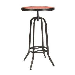 "42.75"" Decorative Retro Red and Black Bistro Style Bar Table   End Tables"