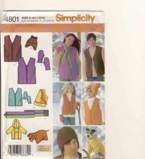 Simplicity Sewing Pattern 4801   Use to Make   Fleece Items   Unisex Child's (XS L), Teens' and Adults' (XS XL) Vest, Hats, Scarf, Mittens, Dog Coat and Pillow