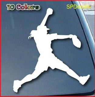 "Softball Pitcher Car Window Vinyl Decal Sticker 4"" Tall (Color White)"