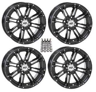"STI HD3 ATV Wheels/Rims Black 12"" Polaris Sportsman RZR Ranger (4) Automotive"