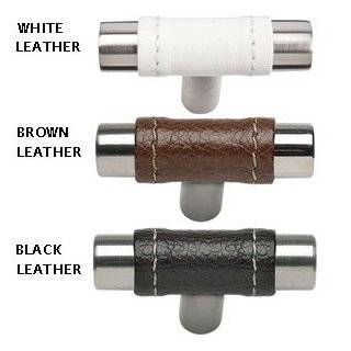 "Atlas Homewares 288WT/SS WT/SS Stainless Steel/White Leather Cabinet Hardware Zanzibar Leather 1.9"" Cabinet Knob"