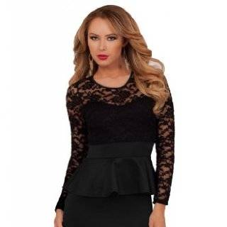 Peplum Lace Pencil Fitted Skirt Party Cocktail Sexy Long Sleeve Classy Dress Clothing