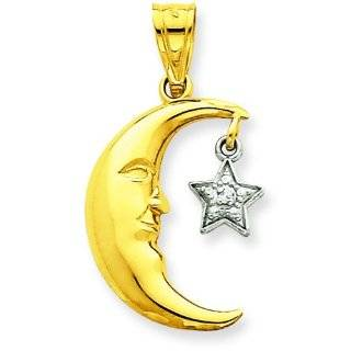 14K Two Tone Gold Diamond Half Moon & Star Pendant Jewelry