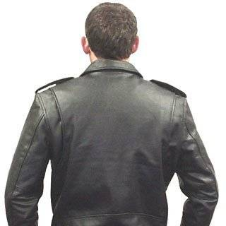 Black Leather Men's Biker Jacket (#297) Clothing